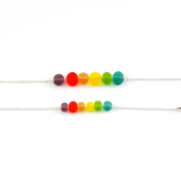 Bracelets multicolore de perles en verre toutes douces