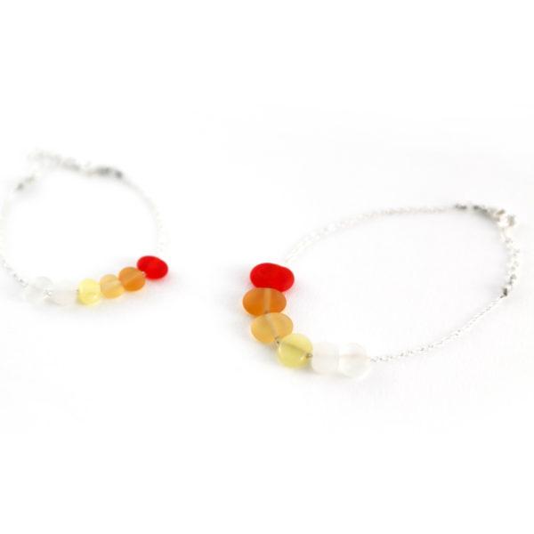 Duo bracelets rouge et orangé