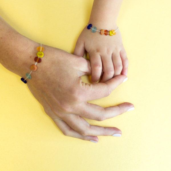 Bracelet maman et fille en verre poli
